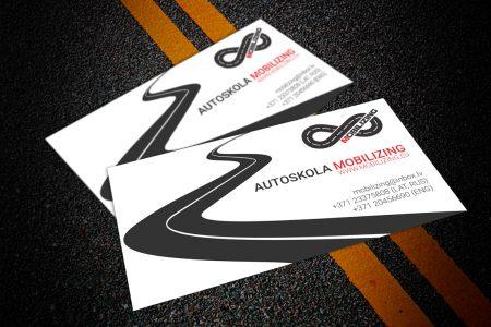 """Vizītkartes dizains autoskolai """"Mobilizing"""""""