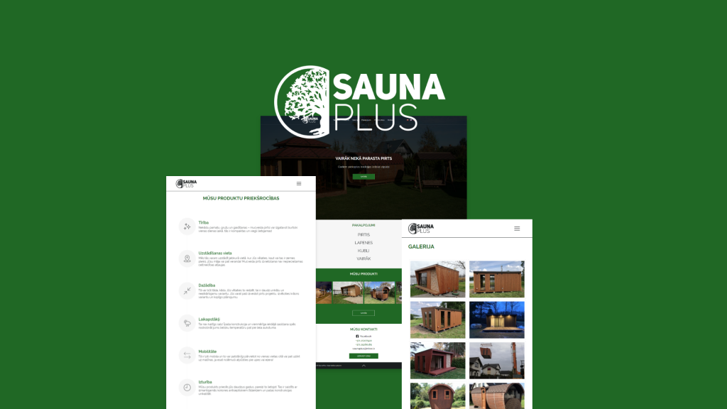 """""""Sauna Plus"""" mājaslapas dizains un programmēšana"""